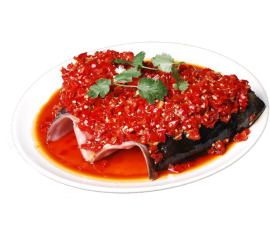 Steamed fish head with red chili (free noodles)